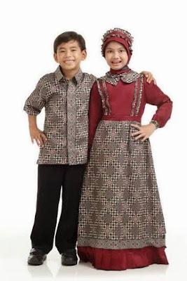 model baju batik muslim anak kombinasi