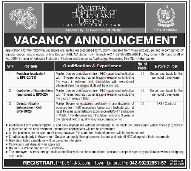 ➨ #Jobs - #Career_Opportunities - #Jobs -  #Jobs Pakistan Institute of Fashion and Design –for application visit the link
