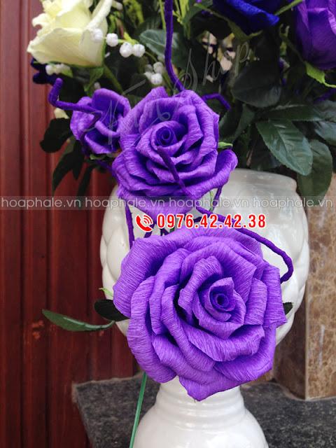 Hướng dẫn làm hoa hồng giấy nhún | hoaphale.vn