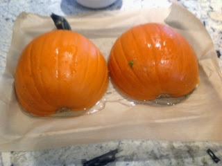 sugar pumpkin roasting on pan