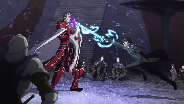 Kirito menunjukkan kemampuannya dengan mengalahkan sang game master SAO, Kayaba Akihiko