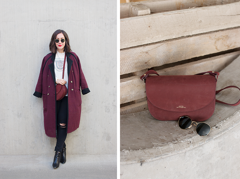 Styling an oversized burgundy coat  ||  Adventures in Fashion