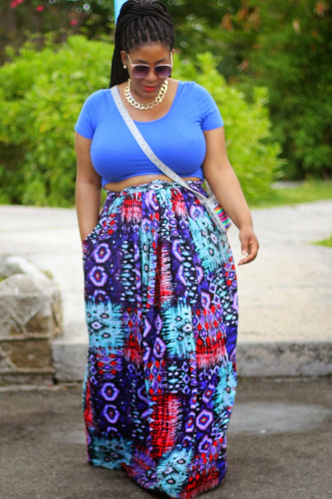 55b69fd031c Plus Size Maxi Skirt With Double Slits