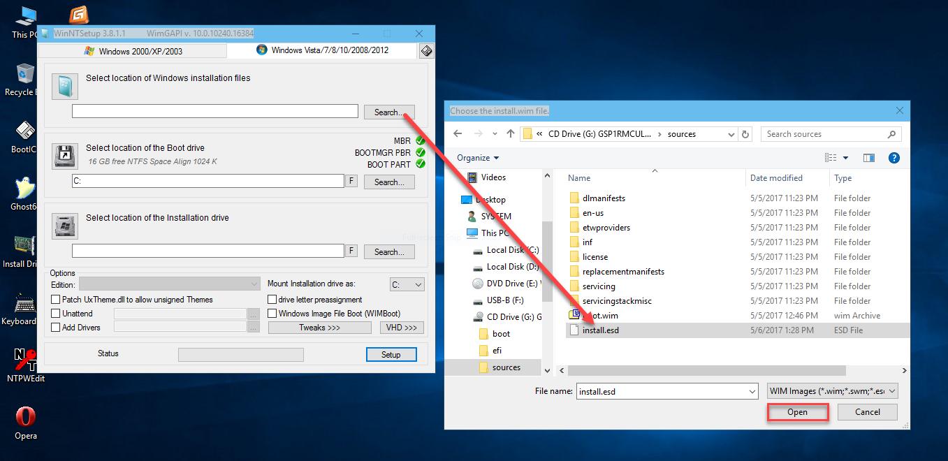 Hướng dẫn cài Win AIO (install.esd) bằng WinNT Setup trong WinPE