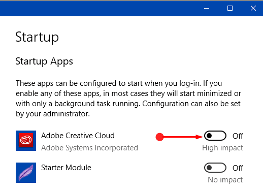 Way to Disable Startup Items on Windows 10 through Settings