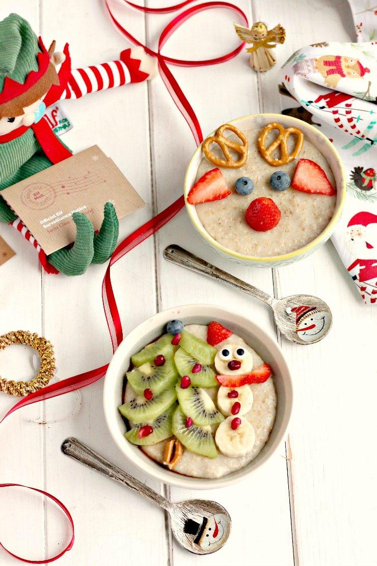 Slow Cooker Snowman and Reindeer Christmas Porridge