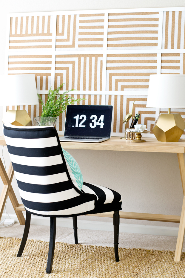 DIY Oversized Striped Corkboard - Infarrantly Creative