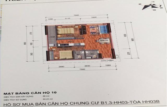Sơ đồ thiết kế căn hộ 10 chung cư B1.3 HH03B Thanh Hà Cienco 5