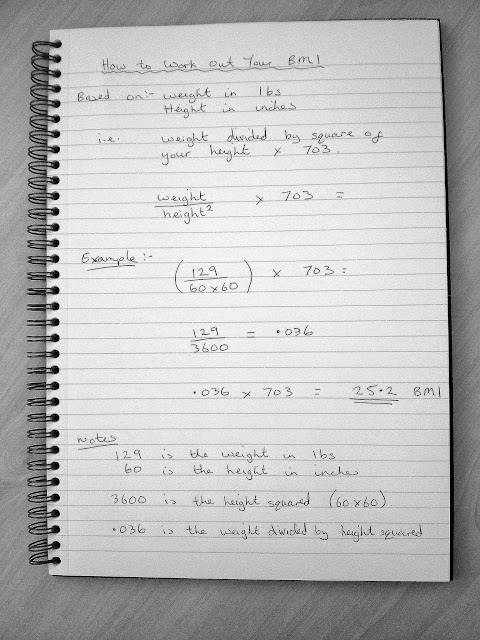 Example of formula for how to work out your BMI Body Mass Index. Weight divided by square of your height multiplied by 703, using pounds and inches.