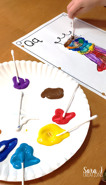 Painting with Q Tips for letter Q fun