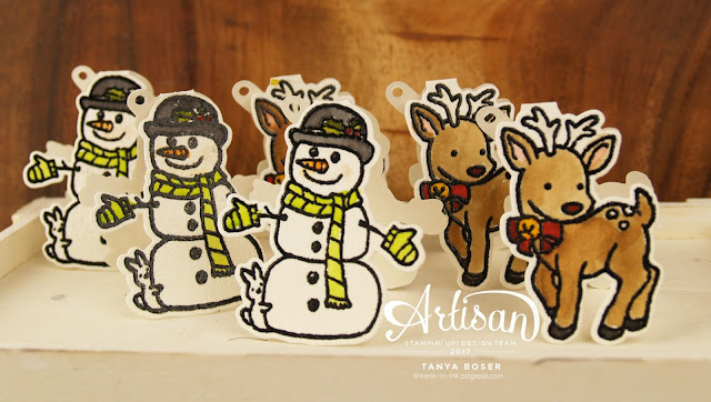 A crowd of tags with Stampin' Up!'s Seasonal Chums and Seasonal Tags dies and watercolor paper~ Tanya Boser for Inky Friends