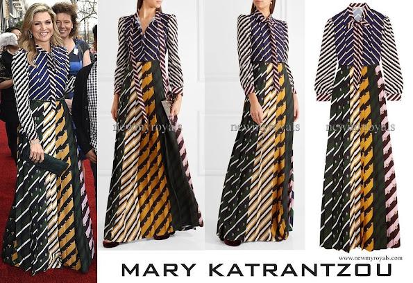 ueen Maxima wears Mary Katrantzou Printed Crepe de Chine Maxi Dress
