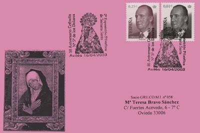Tarjeta del matasellos dela Semana Santa avilesina en el 50 aniversario de la Cofradía de los Dolores