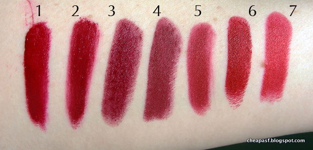 Swatches of 1. Urban Decay Vice Lipstick in Rock Steady; 2. Urban Decay Vice Lipstick in Gash; 3. Bite Beauty Scarlet; 4. Maybelline Creamy Matte in Divine Wine; 5. Nars Cruella; 6. Urban Decay Bad Blood; and 7. NYX Matte Perfect Red