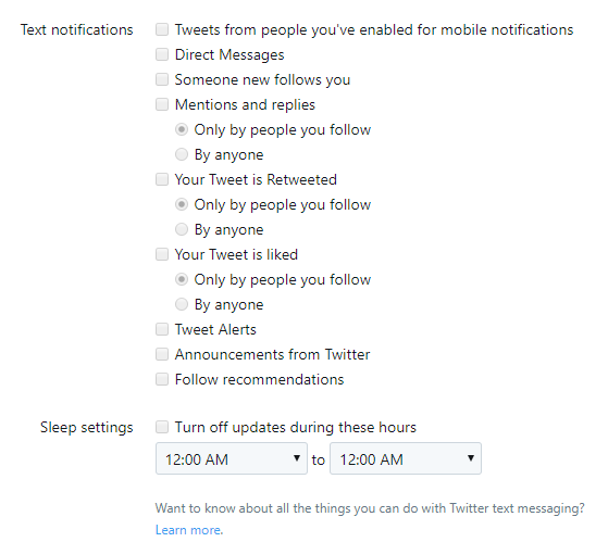 Text notification options in Twitter