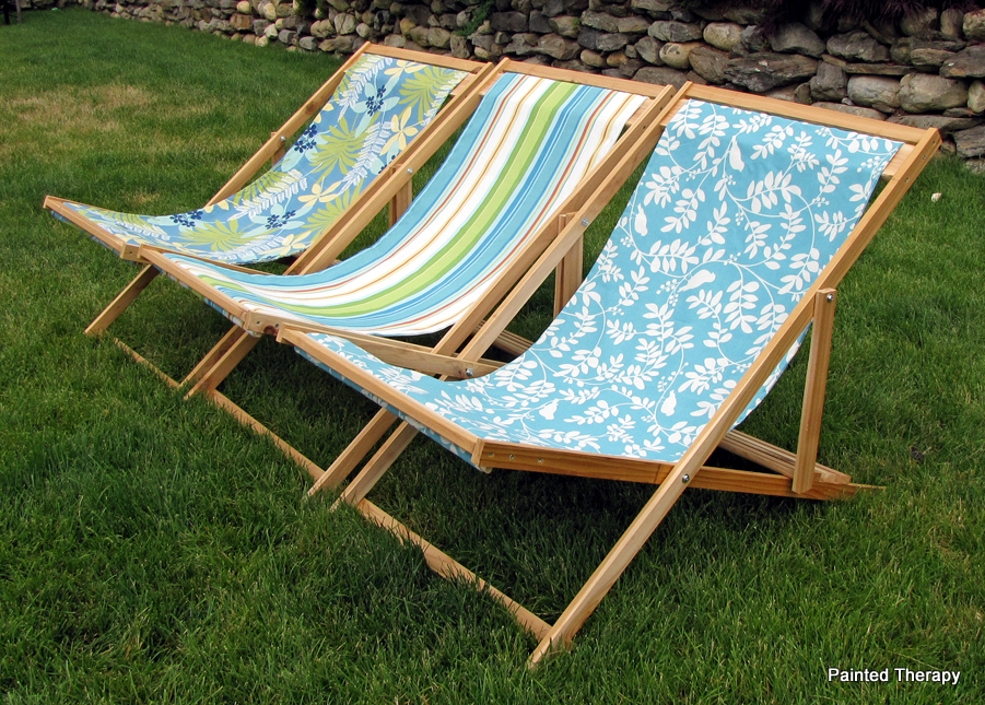Painted Therapy Folding Beach Sling Chairs