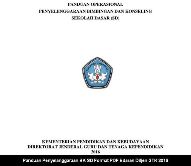 Panduan Penyelanggaraan BK SD Format PDF Edaran Ditjen GTK 2016