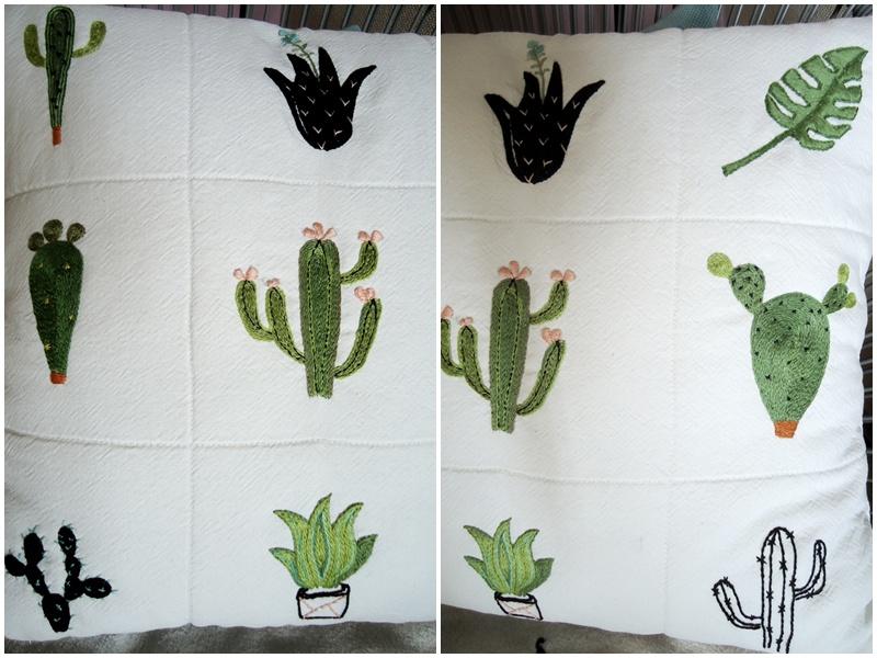 faftowane kaktusy, poduszka hand made