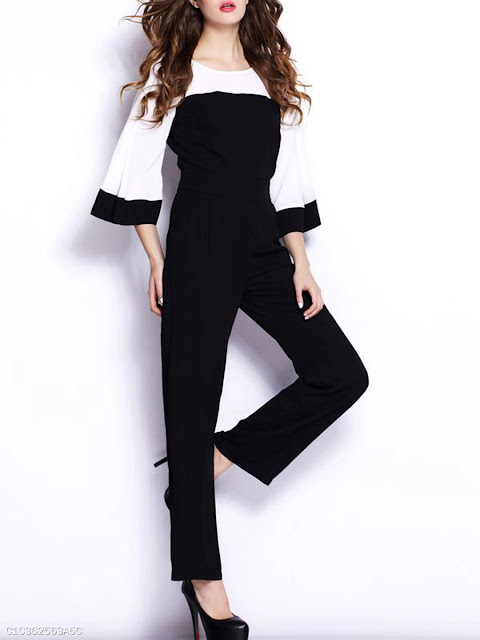 Color Block Bell Sleeve Round Neck Straight Jumpsuit - Black and White