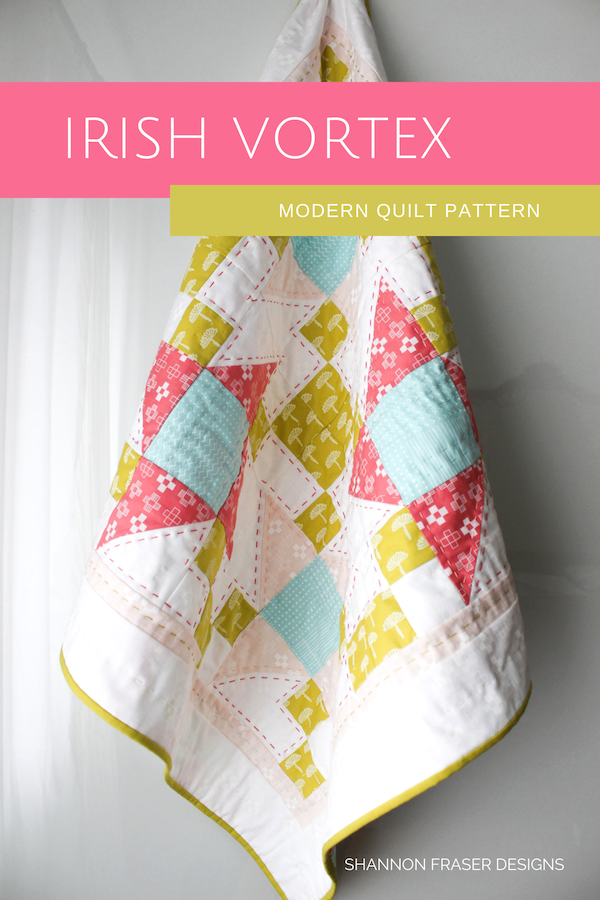 Baby Irish Vortex Quilt | Modern nursery décor | DIY baby gift | Shannon Fraser Designs