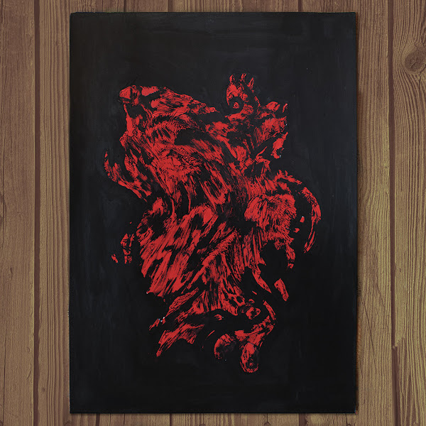 Photo of Kostas Gogas' artwork 'Monstrous Red', a red, hard contrast abstract shape on a black background.