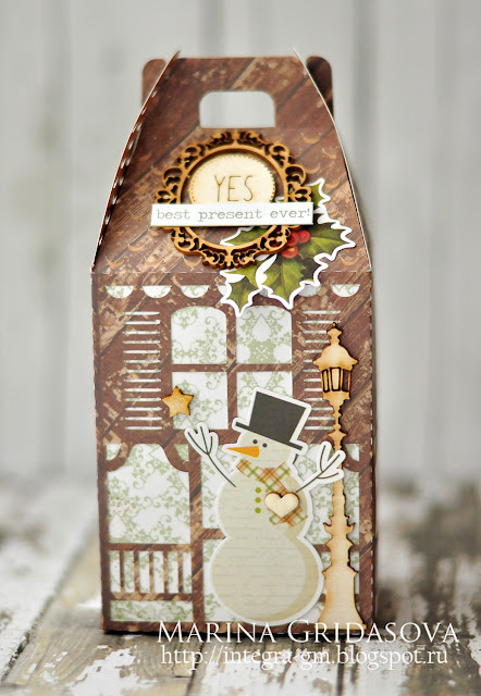 snowman's heart box | I-Kropka DT @akonitt #box #giftbox #by_marina_gridasova #holidaygiftbox #silhouettecameo #ikropka #chipboard #scrapberrys #alteredscrap #scrapbooking
