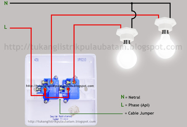 Diagram gambar cara memasang saklar ganda (Double Switch)