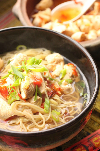 nouilles chinoises et poulet vapeur