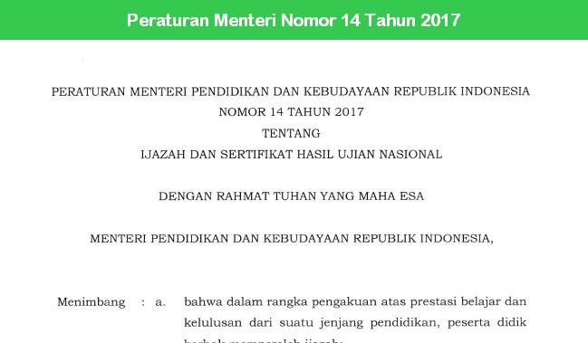 Peraturan Menteri Nomor 14 Tahun 2017