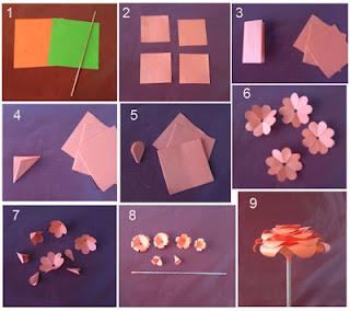 Cara mudah membuat bunga mawar dari kertas origami