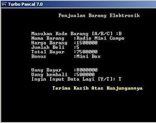 Program Penjualan Menggunakan Pascal