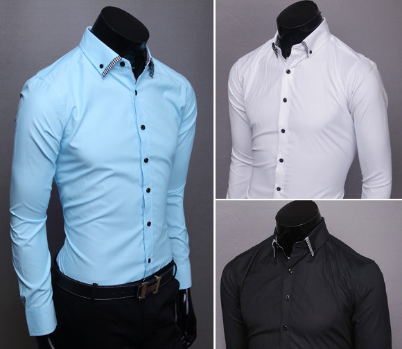 Camisas masculinas Super Slim, Fashion Fit