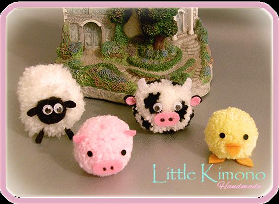 Pompones animales de granja reto iregumy little kimono - Como se hacen los pompones ...