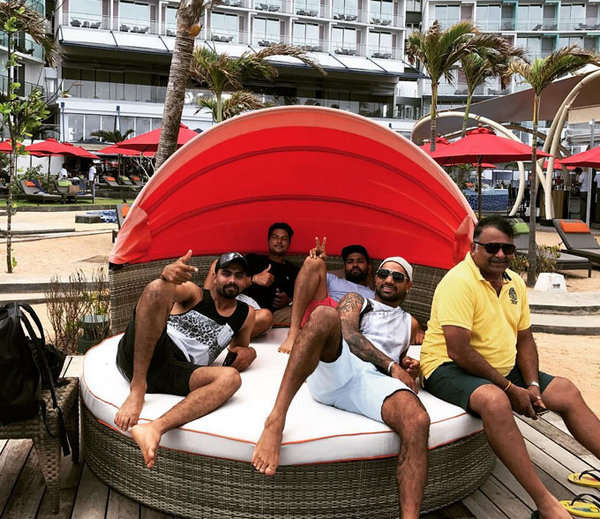 The Indian cricket team celebrating their victory at Amari Galle 9