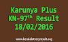 Karunya Plus KN 97 Lottery Result 18-02-2016