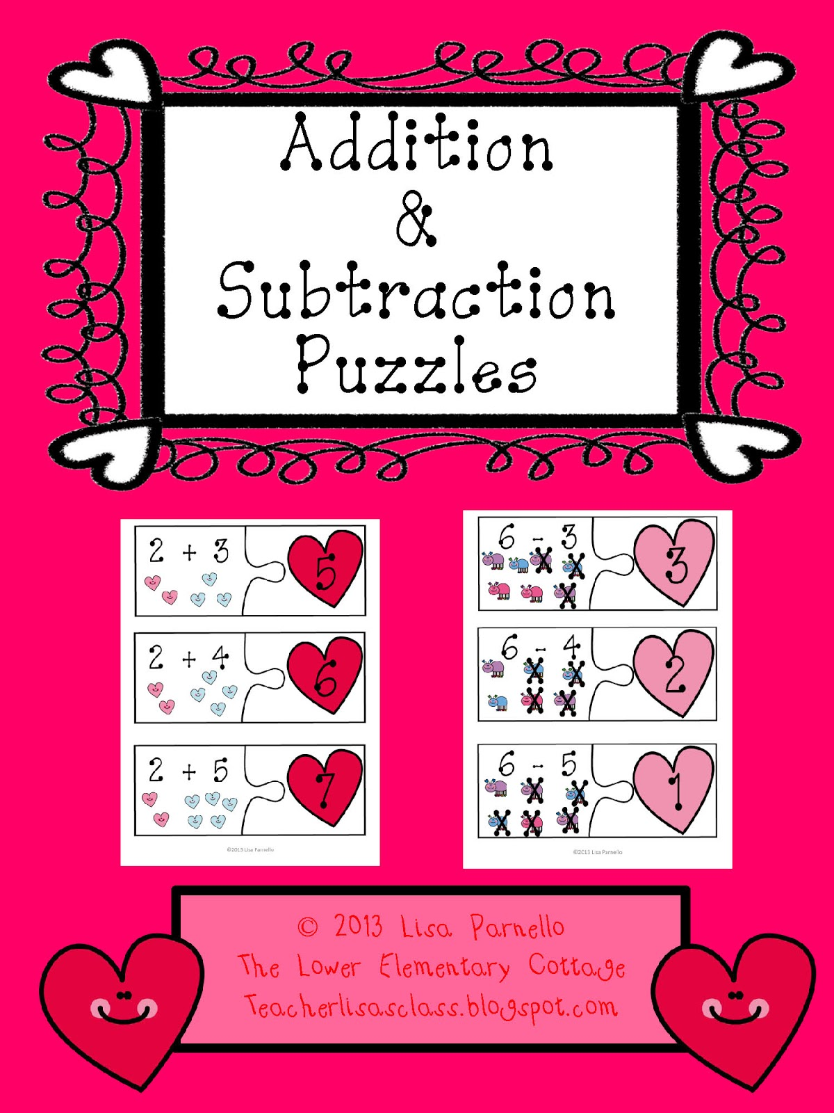 The Lower Elementary Cottage Addition Subtraction Valentine Puzzles Freebie Stationary