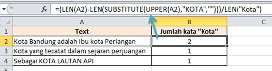Contoh Rumus Excel Menghitung Jumlah Kata tidak case senseitive