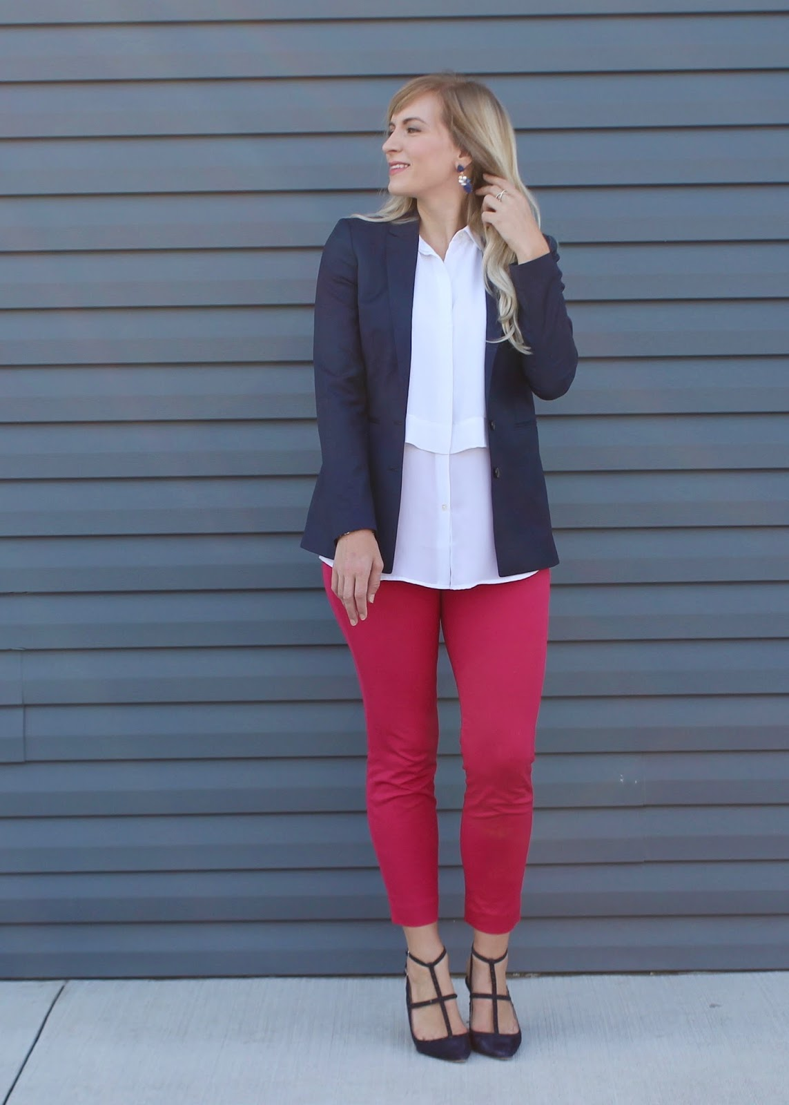 navy blazer and pink pants
