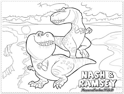 mewarnai gambar nash dan ramsey the good dinosaur
