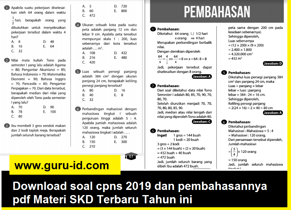 Download Soal Cpns 2019 Dan Pembahasannya Pdf Materi Skd