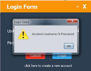 java login form - login failed