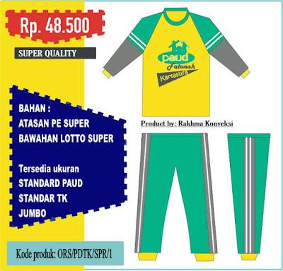 Kaos dan celana olahraga tk paud panjang warna kuning hijau