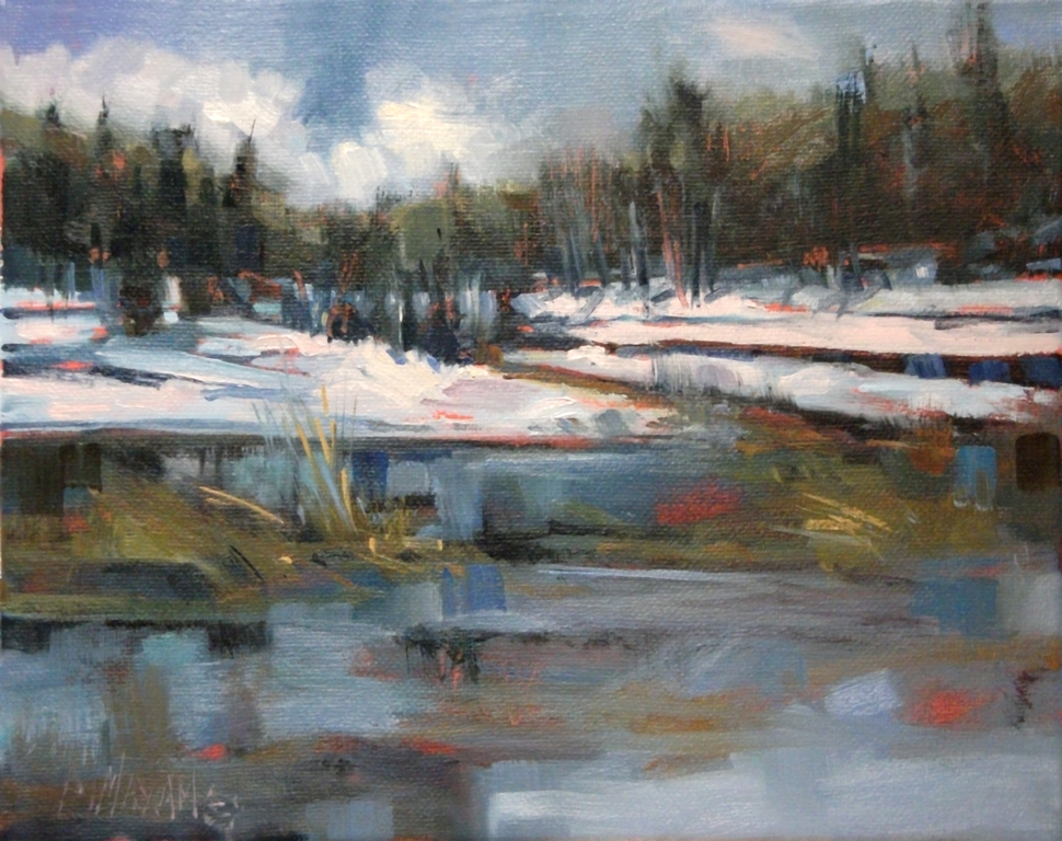 mary maxam paintings winter view blue reflections of. Black Bedroom Furniture Sets. Home Design Ideas