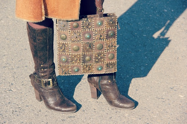 vintage looking leather bags and boots