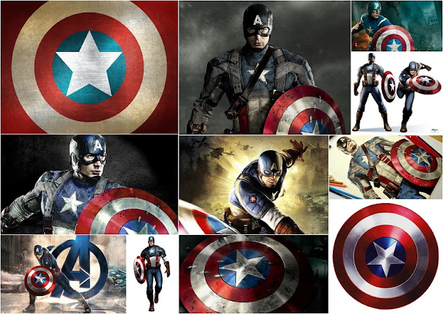 Captain America: Free Printable Cards or Invitations.