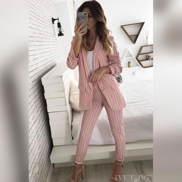 Γυναικείο ροζ κοστούμι ADELAIDE - Σακάκι και παντελόνι