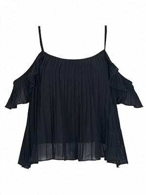 czarna bluzka l top l z odkrytymi ramionami
