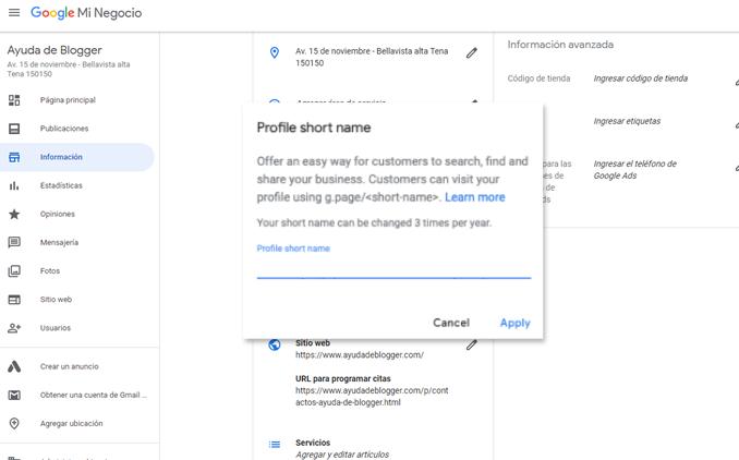 Google agrega nombres cortos y URL a los listados de Google My Business
