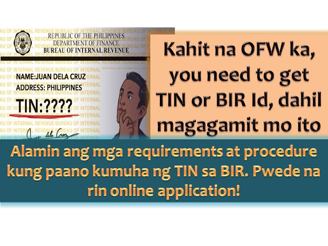 Even if you are an Overseas Filipino workers or Filipino residing abroad, it is important to have Tax Identification Number (TIN). It is one of the important government identification cards (ID) that a Filipino must have.   It is also one of the easiest government ID to obtain because of the few requirements needed. One more good thing about TIN ID is that it will never expire. TIN ID can also be used in government and private transaction and serves as supporting documents too.   Here are the easy steps for the application.