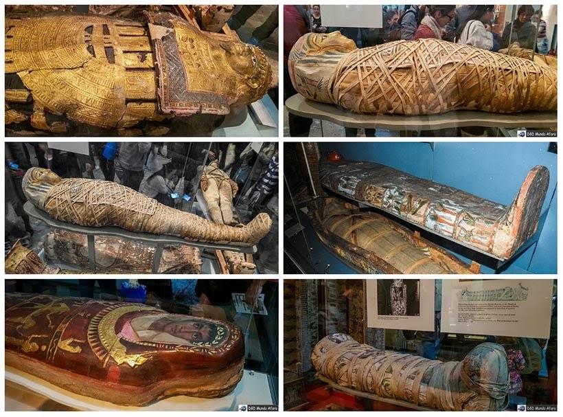 Múmias egípcias no Museu Britânico em Londres